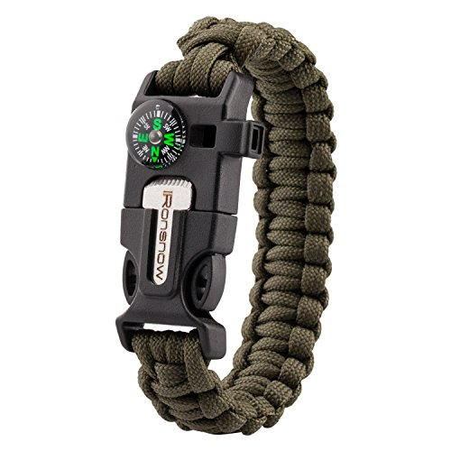 iRonsnow Emergency Paracord Bracelets Survival Gear, Flint Fire Starter, Whistle, Compass & Scraper/Knife|W, Wilderness Survival-Kit For Camping/Hiking/Boating/Sailing (Green)