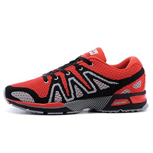onemix Laufschuhe Herren Gute Qualität Straßenlaufschuhe Sneaker Rot / Schwarz