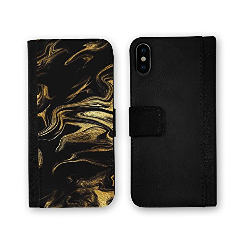 Marble Design Skinz Premium Leather Wallet Case for the iPhone 6 - Black & Gold Marble Swirl V7