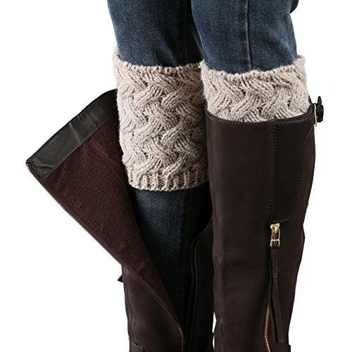 FAYBOX Short Women Crochet Boot Cuffs Winter Cable Knit Leg Warmers Khaki (: Womens Clothing Accessories Khaki)