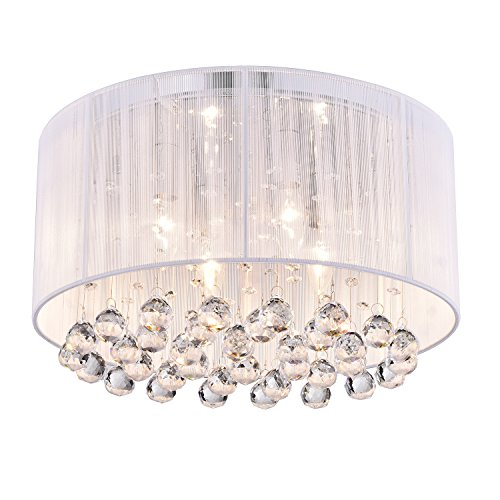Crystal 4-light White Drum Shade Chrome Flush Mount Chandelier Ceiling (Drum Shade Crystal)