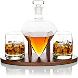 Atterstone Diamond Whiskey Decanter Set, Full Set with Custom Mahogany Decanter Stand, 2 Diamond Whiskey Glasses, 9 Whiskey Stones and Stainless Steel Funnel