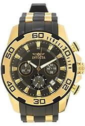 Invicta Men's Pro Diver Gold-Tone Polyurethane Band Steel Case Swiss Quartz Charcoal Dial Watch 22344