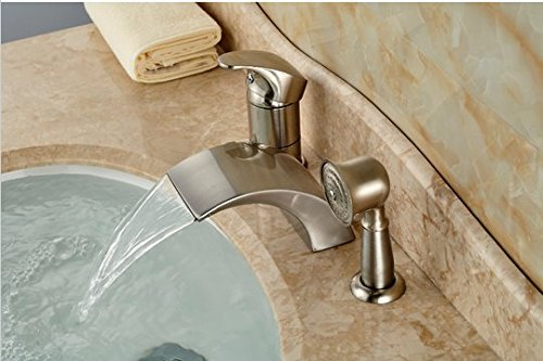 Gowe brushed nickel roman waterfall spout tub faucet - Bathroom sink faucet with sprayer ...