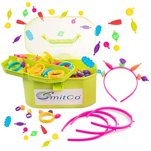 SMITCO Pop Beads - 725 Piece Jewelry Making Craft Kit for Kids - Snap Lock Beads Sensory Toys with Headbands, Bracelets and Rings - DIY Accessories for Girls Ages 3+ - Great Party Activity - Kit Bead Activity