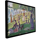 Georges Seurat 'La Grande Jatte' floater framed gallery-wrapped canvas is a high-quality canvas print in which a crowd gathers on the river bank dressed in wonderful, formal attire. A stunning addition to your home or office.