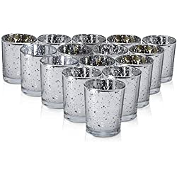 Silver Mercury Votive Candle Holder Set of 15 - Made of Mercury Glass with A Speckled Silver Finish - Adds The Perfect Ambience to Your Wedding or Home Decor