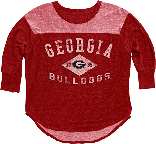 NCAA Georgia Bulldogs Women's BK Premium Terry 3/4 Yoke Tee, Red, Large (Bull Womens T-shirt Light)