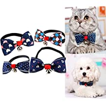 Aidle Gentle Stylish Adjustable Dog Cat Pet Bow Cat Dog Rabbit Bow tie Collar Bell Necktie Collar-Set of 4