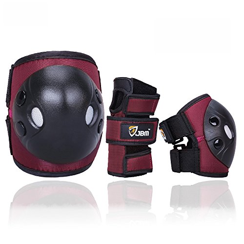 JBM Child Kids Bike Cycling Bicycle Riding Protective Gear Set, Knee and Elbow Pads with Wrist Guards Multi-Sports: Rollerblading, Skating, Basketball, BMX (Nylon Cloth Red Brown, Child/Kids)