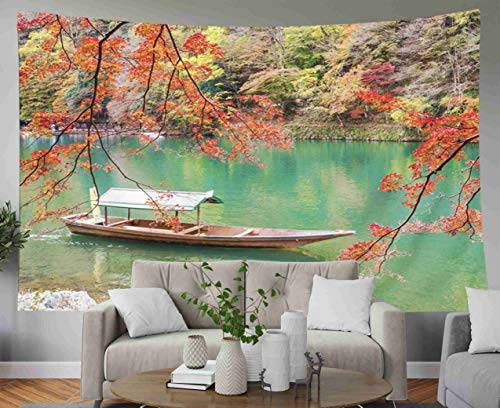Musesh Psychedelic Art Gold Tapestry, Tapestries Wall Hanging for Bedroom Living Room Decor Inhouse Kyoto The Famous and Popular Travel Place of Japan When Colorful Autumn Season 80x60 Inches Size