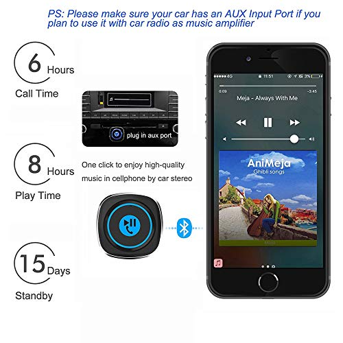 Bluetooth Receiver, Elecwave Bluetooth 4.2 Car Receiver & Wireless Audio Adapter for Music Streaming Car/Home Stereo Sound System - Hands-Free Car Aux Adapter Car Kits for Speaker, 3.5mm AUX in Only
