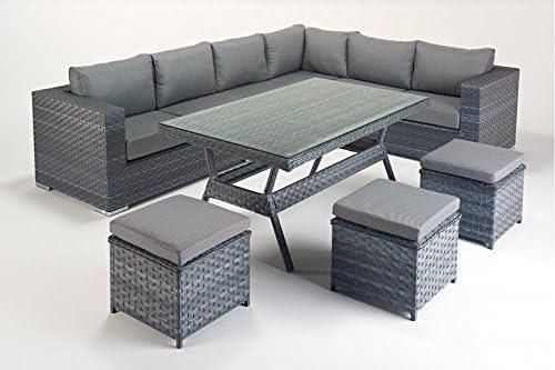 Manhattan gris muebles de jardín sofá en esquina mesa de comedor set-right: Amazon.es: Hogar
