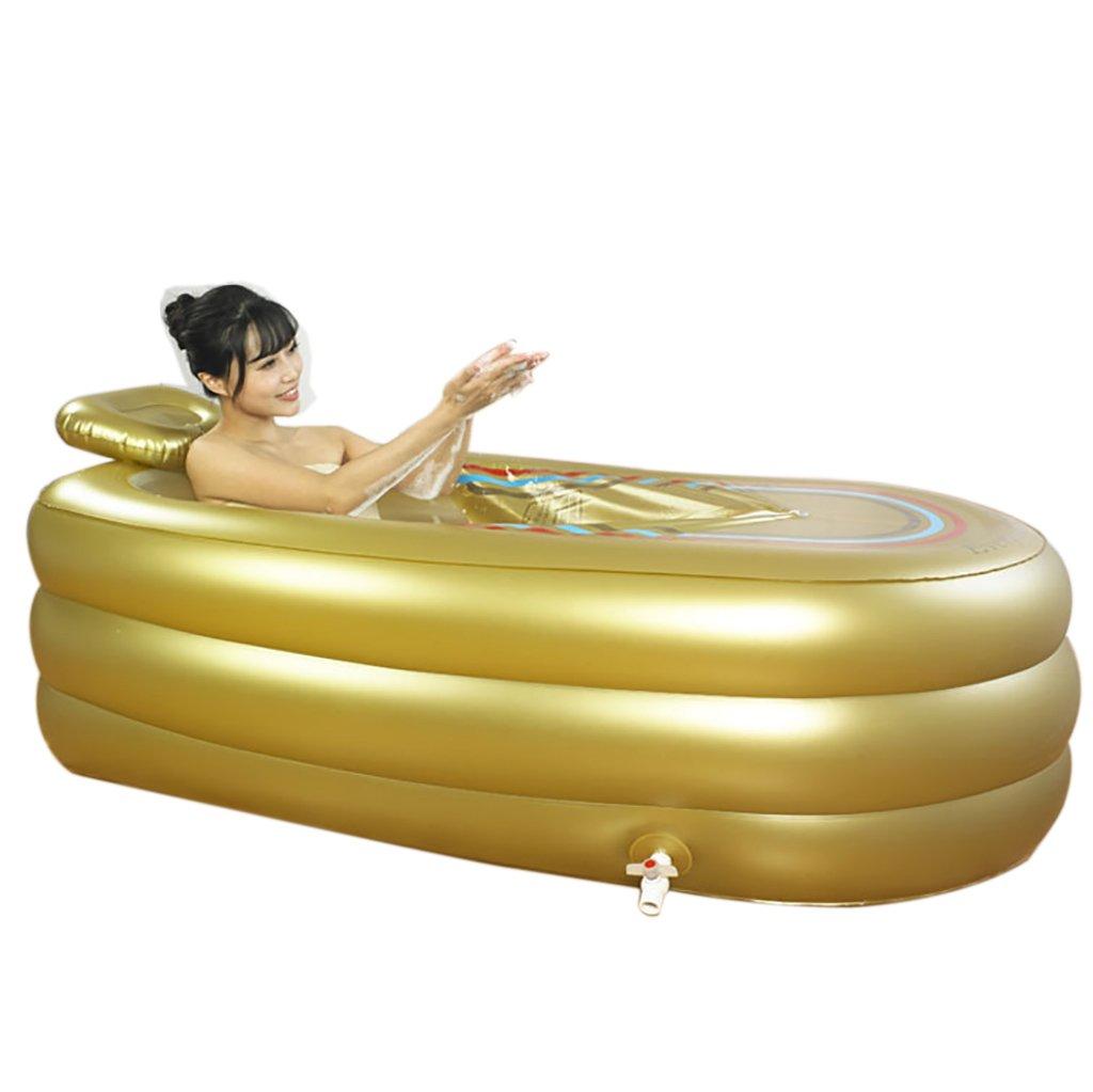 PM YuGang Double Bathtub Foldable Inflatable Thick Warm Adults Bathtub, Children Inflatable Pool Bath Tub,Gold