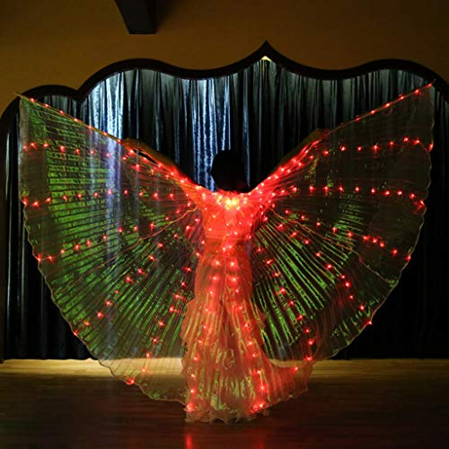 CapsA Girls Wings Glow Light Up Belly Dance Costumes with Telescopic Stick LED Wings Glowing Performance Clothing for Carnival Stage Halloween Christmas Party (Red) -