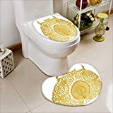 also easy Bathroom Non-Slip Floor Mat ornament of gold plated vintage floral thai art style Cushion Non-slip