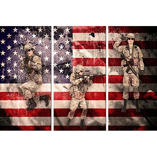 LLWWRR1 Hot Sale 5D Diamond Painting Soldiers & Flag Mosaic Picture Handmade Rhinestone Needlework Diamond Embroidery Home Decor -