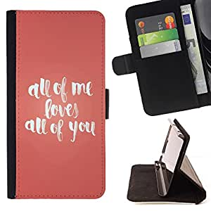 Momo Phone Case / Flip Funda de Cuero Case Cover - All Of Me le ama Canción Peach Citar Texto - Samsung Galaxy Note 5 5th N9200