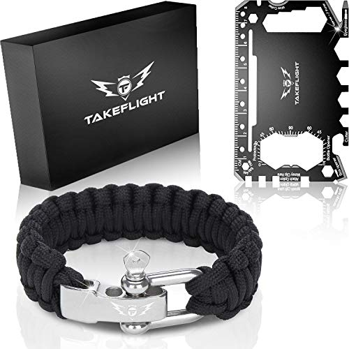 Multi Tool Everyday Carry Survival Kit Gadgets For Men Tactical Gear W Paracord Bracelet Credit Card