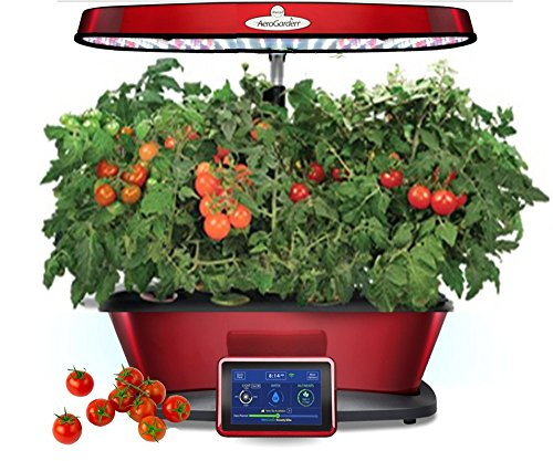 Aerogarden Bounty Elite Red Stainless Indoor Garden with Cherry Tomato Kit by AeroGrow