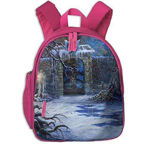 (Halloween Scary Entry Way Children School Bag Book Backpack Outdoor Travel Pocket Double Zipper)