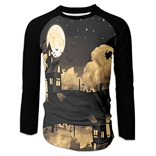 Men's Flying Witch Halloween Moon Casual Novelty Crew Neck Long Sleeve Raglan Baseball Tee Shirt Gift ()