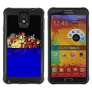 Suave TPU GEL Carcasa Funda Silicona Blando Estuche Caso de protección (para) Samsung Note 3 / CECELL Phone case / / Blue Floral Arrangement Black Retro Vintage /