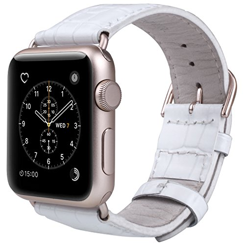 JSGJMY Apple Watch Band 38mm Women Leather Replacement Strap for iWatch Series 2 Series 1 Edition Sport(38mm White+gold Buckle)