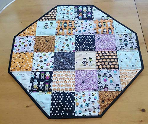 Reversible Halloween Table Topper, Halloween Home Decor, Table Linens, Spooky, Zombie, Pumpkins, Patchwork Halloween Decor, Black, Orange, White, Purple, Grey, Holiday Home Decor ()