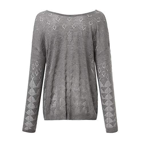 Gris Chandail Manteau Casual Creux Mode Poche Femme Jacket Pull Boutons Tricot 2 Usure Sanfashion pqOIY4