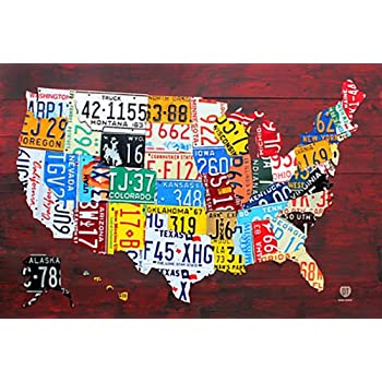 Amazoncom License Plate Map Of The United States Poster  X - Map license plate us