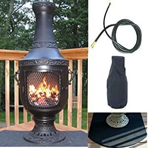 QBC Bundled Blue Rooster Venetian Chiminea with Natural Gas Kit, Half Round Flexbile Fire Resistent Chiminea Pad, Free Cover, and 20 ft Gas Line Charcoal Color - Plus Free EGuide