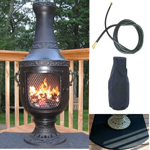 Blue rooster venetian model charcoal color natural gas - Chimenea gas natural ...