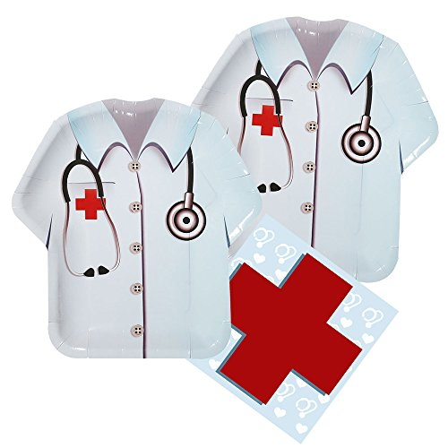 Doctor Party Shaped Plate & Napkin Sets (35+ Pieces for 16 Guests!), Doctor Party Supplies, Nurse Party Decorations, Tableware Packs