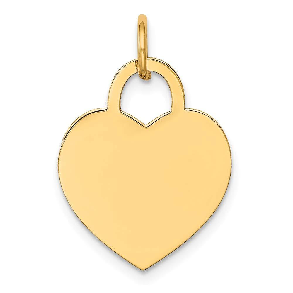 14k Yellow Gold Medium Engravable Heart Charm