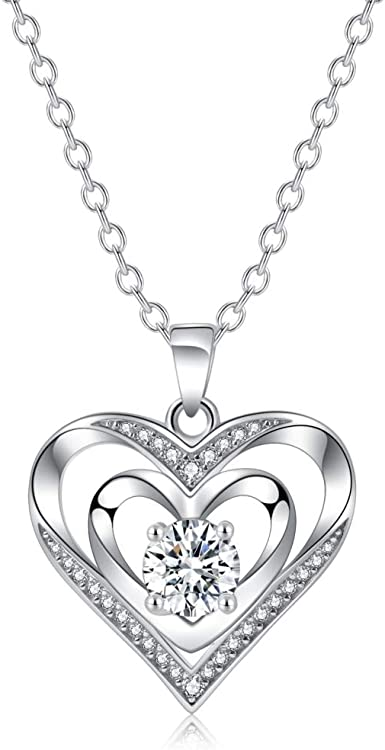 Double Heart Necklace 925 Sterling Silver With Cubic Zirconia Personalized Love Simple Recorder Charm Expensive Jewelry Memorial Pendants For Wedding Women Girlfriend Girls Mother And Daughter Amazon Co Uk Clothing