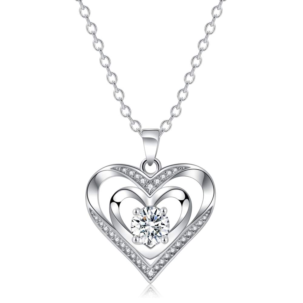 f645cdc3be764 Double Heart Necklace 925 Sterling Silver with Cubic Zirconia Personalized  Love Simple Recorder Charm Expensive Jewelry Memorial Pendants For Wedding,  ...