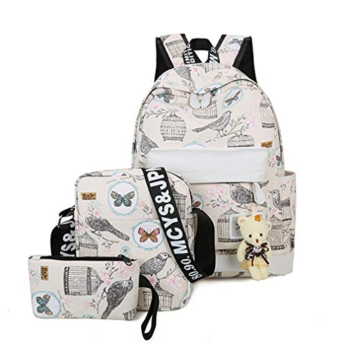 Blue Women L32cm 3Pcs Canvas Gift Backpacks Beige Bag H40cm Bear W14cm Set School Backpack qwgzffX