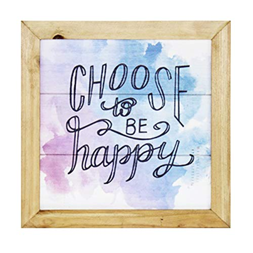 cfmour Rustic Wood Wall Sign - Choose to Be Happy - Colorful Wooden Pallet Wall Art Signs for Home & Office Decor, 11.8x11.8 inches
