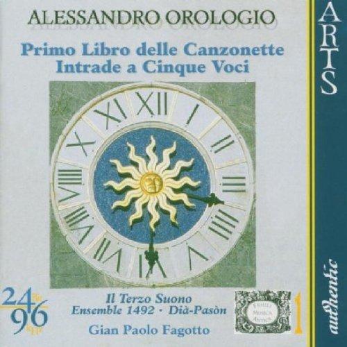orologio-primo-libro-delle-canzonette-a-tre-voci-1593-intrade-a-cinque-voci-1597