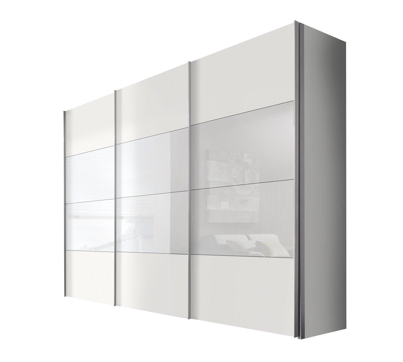 Solutions 49620-210 Schwebetürenschrank 3-türig, Korpus und Front polarweiß, weißglas, Griffleisten alufarben, 68 x 300 x 216 cm