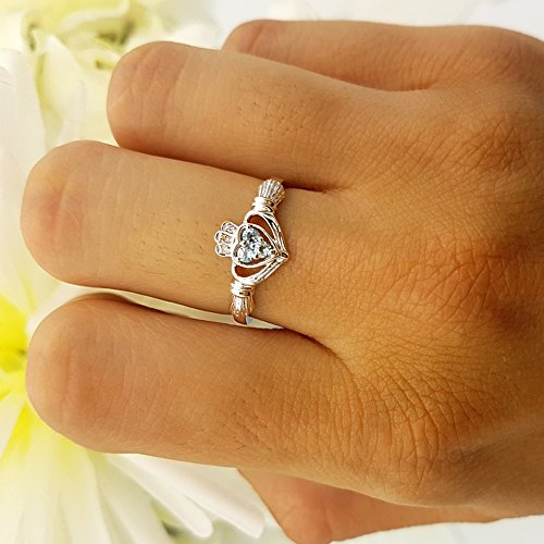 10K Rose Gold White Diamond And Aquamarine Bridal Promise Irish Love & Heart Shape Ring (Size 6) by DazzlingRock Collection (Image #3)