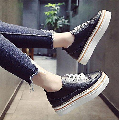 Calle La 36 Calzados Negra Otoño Versión Nueva Femeninos Los Estudiantes Khskx Toman Pino Silvestre Zapatos De Torta la Coreana Marea wXpxfxq6