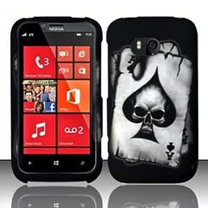 Bloutina For Nokia Lumia 822 (Verizon) Rubberized Design Cover - Spade Skull