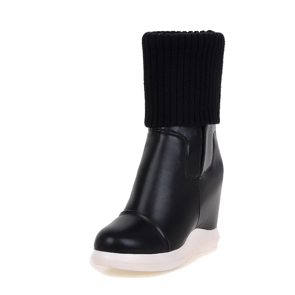 VogueZone009 Women's Solid PU High-Heels Pull-on Round Closed Toe Boots, Black, 36