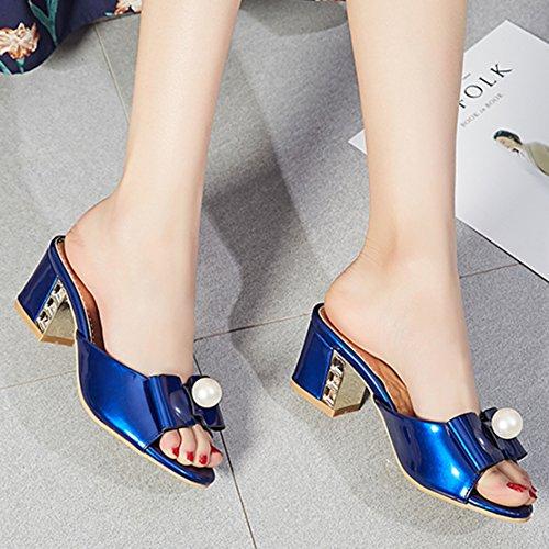5cm Absatz Sandalen Damen und Toe Blau Pantoletten Modern Peep Blockabsatz Bequem Lackleder mit AIYOUMEI Schleife zq4Sgfnw