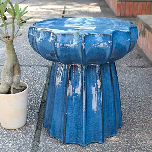 International Caravan OPG-066-NV-IC Furniture Piece Navy Blue Round Scalloped Ceramic Garden - Scalloped International