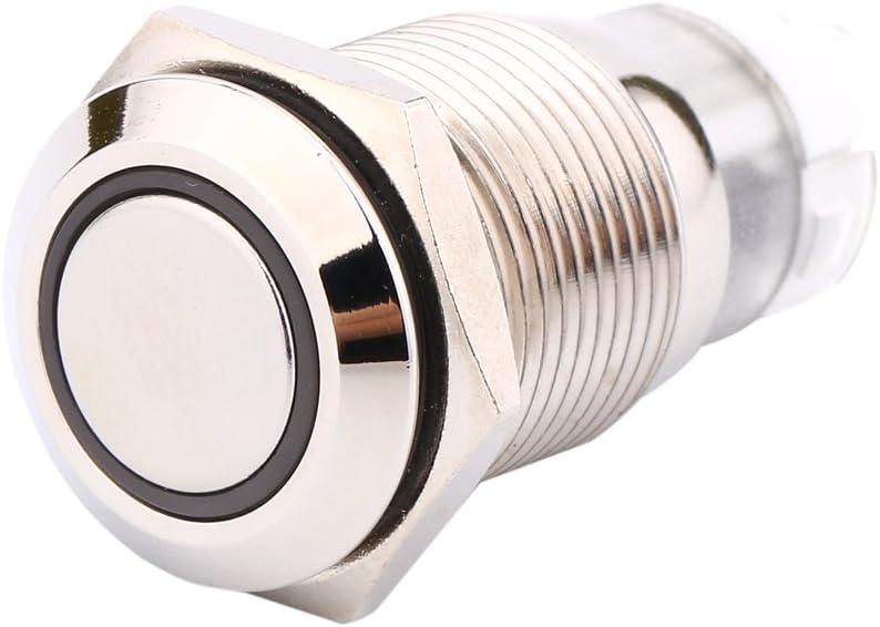 Keenso 16mm 12 V Auto Gr/üne LED Metall Power Druckschalter 1NO1NC ON//OFF Rastschalter