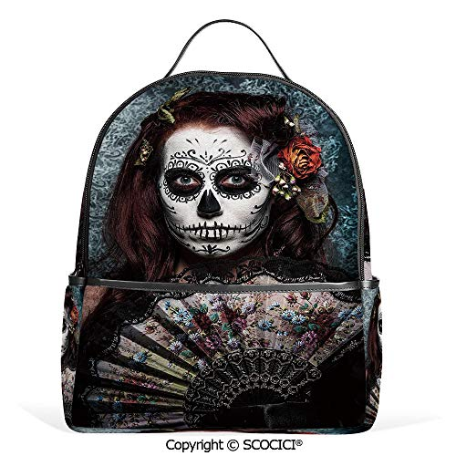 3D Printed Pattern Backpack Make up Artist Girl with Dead Skull Scary Mask Roses Print,Cadet Blue Maroon,Adorable Funny Personalized Graphics