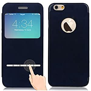 Cubierta Caja de PU Ultra Delgado Ligero con Desbloqueo Tira de Metal y Ventana Transparente para iPhone 6 iPhone 6s 4.7 pulgadas(azul)